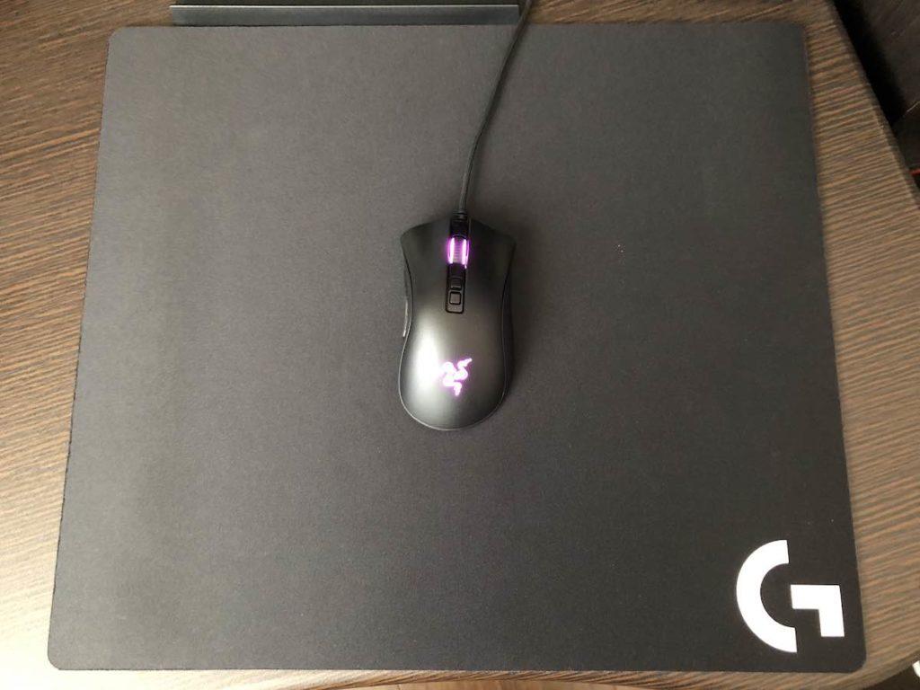 ロジクール G640 マウスを置いたサイズ感