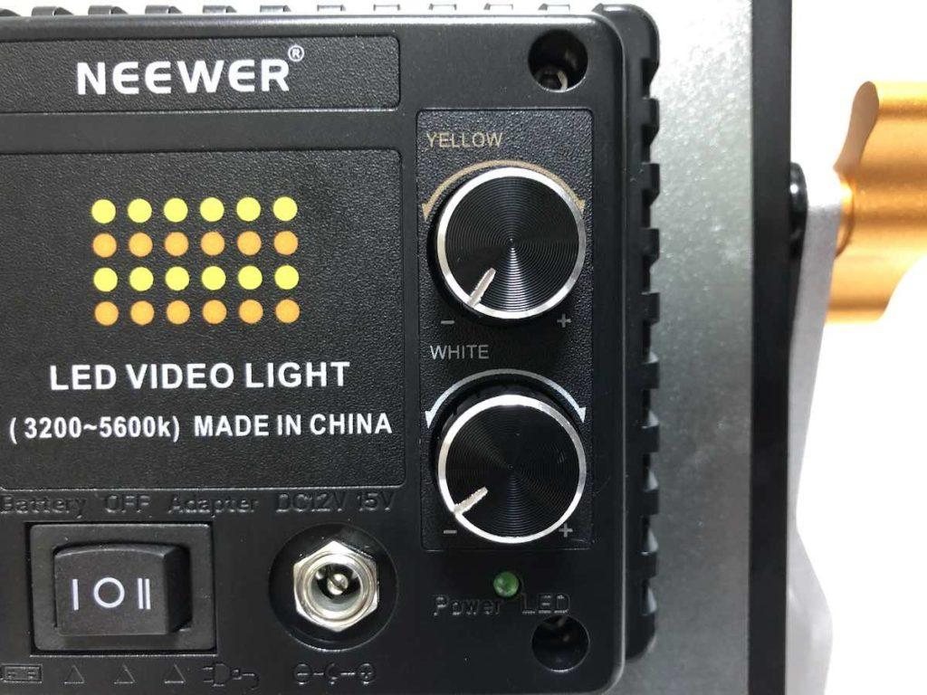 NEEWER 480 LEDビデオライト 色温度調節つまみ