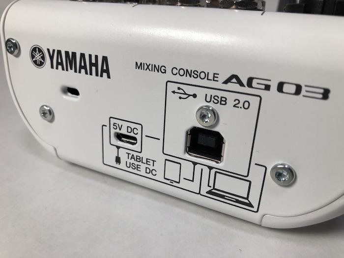 YAMAHA AG03 USB接続端子