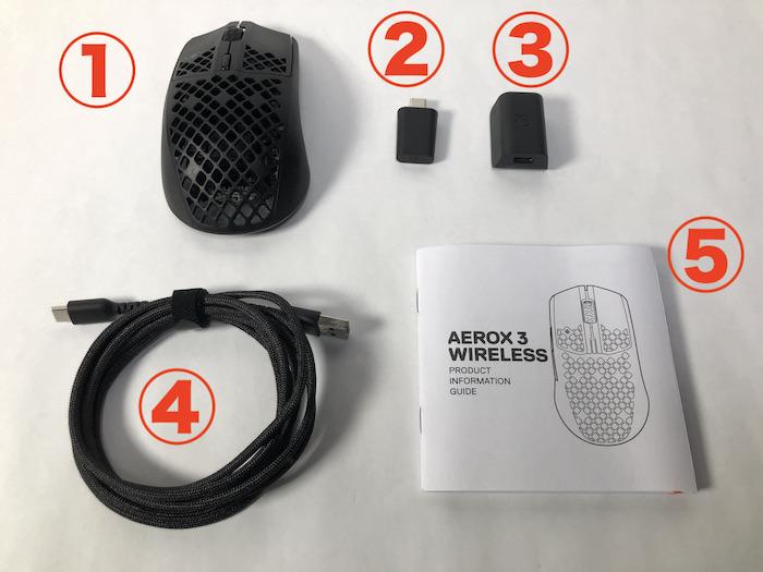 SteelSeries Aerox3 Wireless 付属品一覧